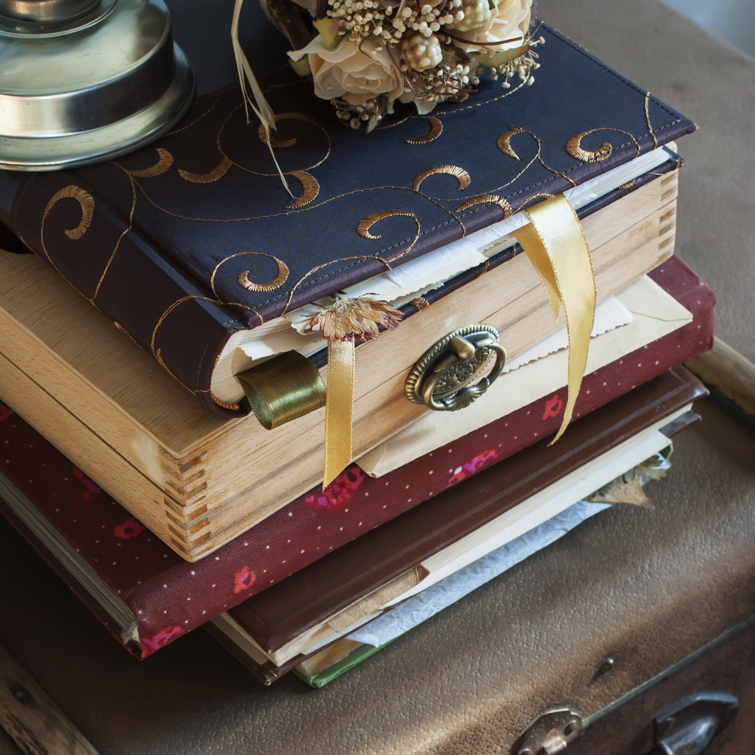 Old Vintage Albums with photos, bookmark and dry plants, square